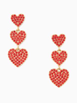 Kate Spade YOURS TRULY pave heart triple drop earrings