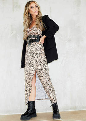 Missy Empire Missyempire Shelby Brown Cheetah Print Cowl Neck Slip Dress