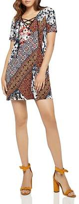 BCBGeneration Lace-Up Patchwork-Print Dress