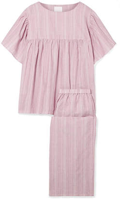 Three J NYC Kelly Embroidered Striped Cotton-voile Pajama Set - Pink