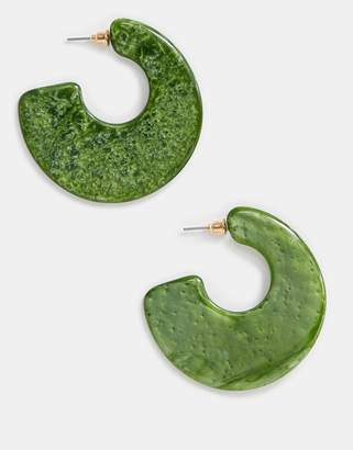 Asos Design DESIGN hoop earrings in moss green resin