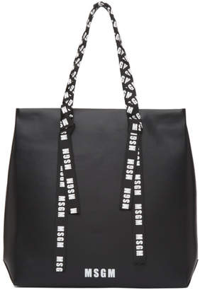 MSGM Black Large Logo Ribbon Shopper Tote