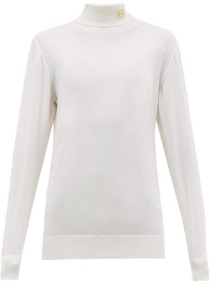 Loewe Anagram Embroidered Roll Neck Cashmere Sweater - Womens - Cream
