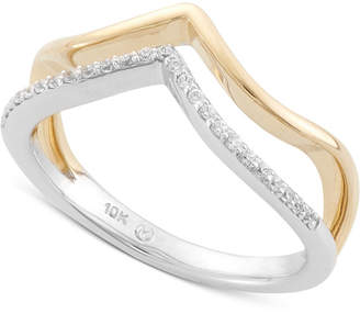 Wrapped Diamond Midi Ring (1/10 ct. t.w.) in 10k Yellow and White Gold, Created for Macy's