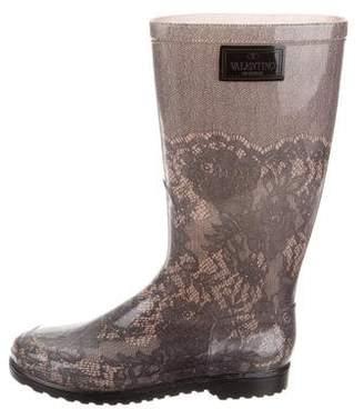 Valentino Rubber Lace Rain Boots