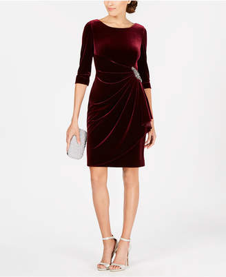 Alex Evenings Petite Ruched Velvet Dress