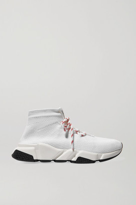 Balenciaga Speed Stretch-knit High-top Sneakers - White