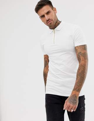 Asos Design DESIGN muscle fit jersey polo with zip neck in white