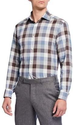 Ermenegildo Zegna Men's Large Check Cotton Sport Shirt