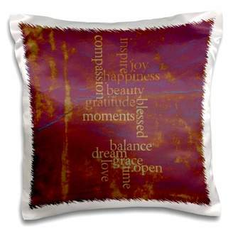 3dRose Vintage Tie Dye Purple Happiness and Gratitude Inspirational Words Motivational - Pillow Case, 16 by 16-inch