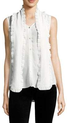 L'Agence Christiana Sleeveless Silk Blouse