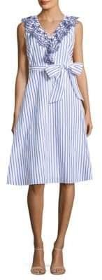 Draper James Stripe Eyelet Ruffle Cotton Dress