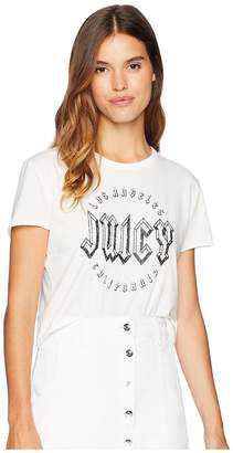 Juicy Couture Knit JXJC Embellished Logo Graphic Tee Women's T Shirt