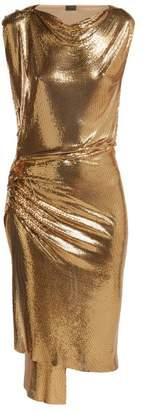 Paco Rabanne - Draped Metal Mesh Dress - Womens - Gold