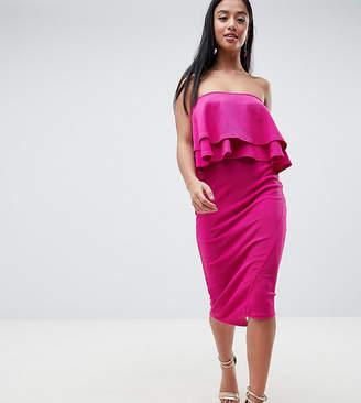 Asos Double Ruffle Bandeau Pencil Dress in Texture