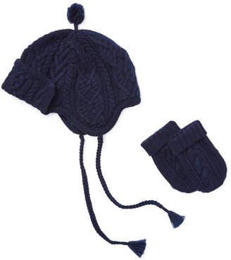Ralph Lauren Merino Wool Trapper Hat w/ Matching Mittens, Size 3-24 Months
