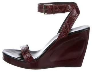 Gucci Alligator Wedge Sandals