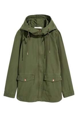 H&M Cotton Twill Jacket - Khaki green - Women