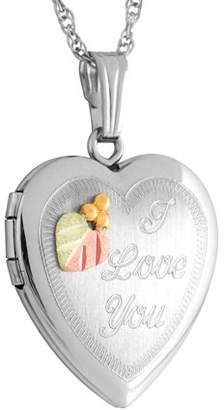 """Personalized Planet Jewelry Women's Sterling Silver and 12kt Gold Black Hills Gold Heart """"I Love You"""" Locket"""