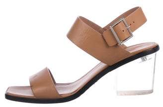 Calvin Klein Collection Leather Ankle-Strap Sandals