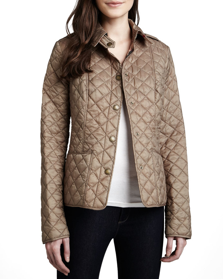Burberry Kencott Quilted Snap-Front Cropped Jacket