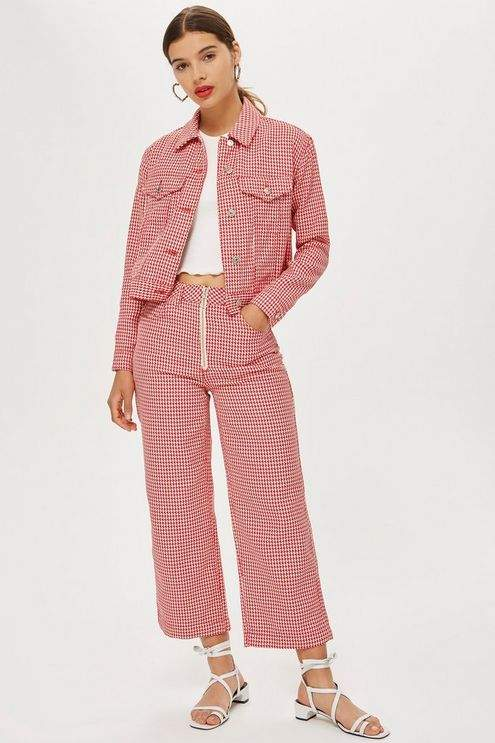 Topshop Moto dog tooth cropped wide leg jeans