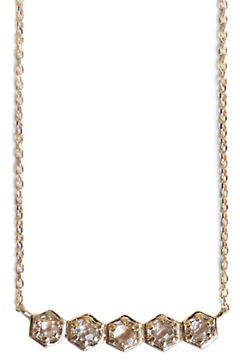 clear JAC + JO Bolt 14K Gold and Topaz Mini Bar Pendant Necklace