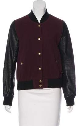 Theory Leather-Trimmed Bomber Jacket