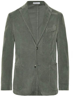 Boglioli Grey-Green Slim-Fit Stretch-Cotton Corduroy Blazer