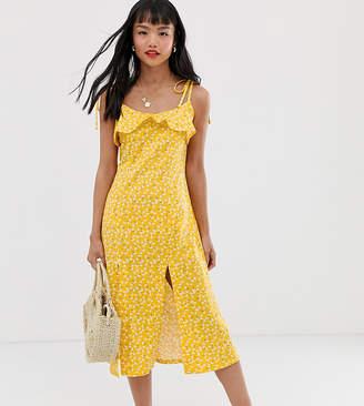 Asos DESIGN Petite midi sundress with splits in ditsy print