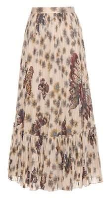 Valentino Printed pleated cotton maxi skirt