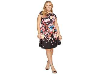 Adrianna Papell Plus Size Spring In Bloom Printed Fit and Flare