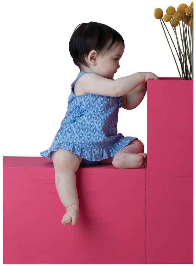 Angel Dear Willa Romper and Diaper Cover - Blue Modern - 12-18 Months