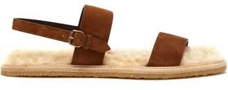 Saint Laurent Noe Shearling Lined Suede Sandals - Mens - Beige