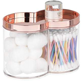 mDesign Plastic Bathroom Vanity Countertop Canister Jar with Recessed Storage Lid - Stackable - Divided