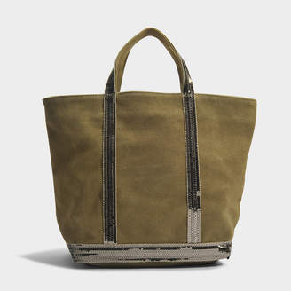 Vanessa Bruno Leather and Sequins Medium Tote Bag in Algue Cowhide