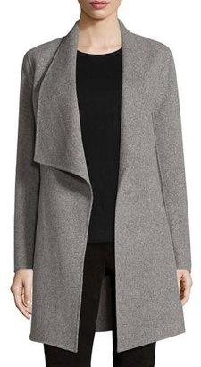 Elie Tahari Christina Wool-Blend Open Coat, Gray Melange $698 thestylecure.com