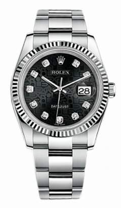Rolex Datejust Steel and White Gold Black Jubilee Diamond Dial 36mm Watch