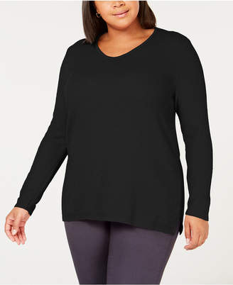 120efc80c48 ... Karen Scott Plus Size Cotton Marled-Knit Tunic Top