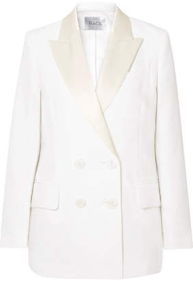Racil Casablanca Double-breasted Satin-trimmed Linen Blazer
