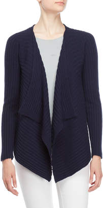 Atos Lombardini Navy Open Ribbed Cardigan