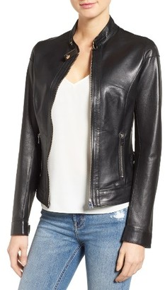 Women's Lamarque Lambskin Leather Biker Jacket $550 thestylecure.com