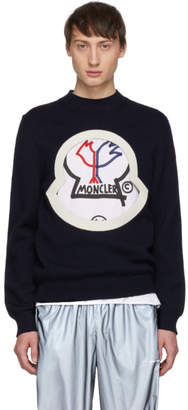 Moncler 2 1952 Navy Wool Crewneck Sweater