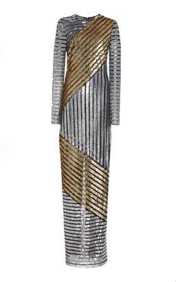 Michael Kors Crewneck Metallic Gown