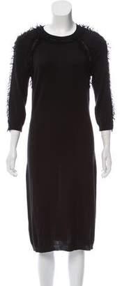 Nina Ricci Fringe-Trimmed Silk-Blend Dress