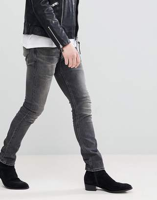 AllSaints Skinny Fit Jeans In Washed Black