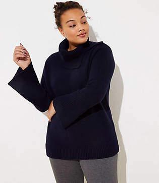 LOFT Plus Split Turtleneck Flare Sleeve Sweater
