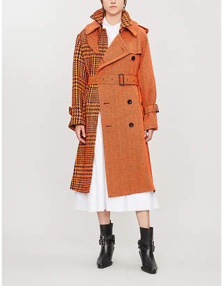 Sacai Contrast-pattern wool and nylon-blend coat