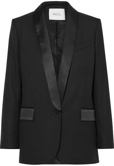 Racil - Paris Satin-trimmed Wool Blazer - Black
