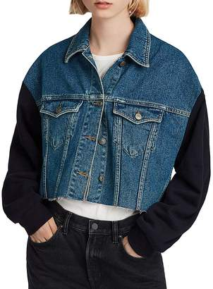 AllSaints Anders Mixed Media Cropped Jacket